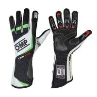 OMP Racing - OMP One EVO Gloves - Black/Fluo Green   - Small - Image 1