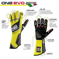 OMP Racing - OMP One EVO Gloves - Black/Fluo Green   - Small - Image 2