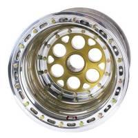"Weld Magnum Sprint Spline Wheel - 15"" x 18"" - 42 Spline - 4"" Back Spacing - Polished - Gold Center - Outer Bead-Loc w/ Cover 735-51854-6"