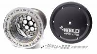 "Weld Magnum Sprint Spline Wheel - 15"" x 18"" - 42 Spline - 4"" Back Spacing - Polished - Black Center - Outer Bead-Loc w/ Cover 735B-51854BC-6"
