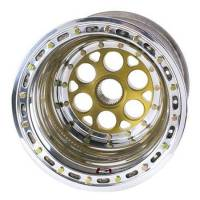 "Weld Magnum Sprint Spline Wheel - 15"" x 18"" - 42 Spline - 5"" Back Spacing - Polished - Gold Center - Outer Bead-Loc w/ Cover 735-51855-6"