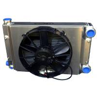 "C&R Racing - C&R Racing Drag Radiator Module - Scirocco Style - Open - 22"" x 13"" - SPAL 12"" Fan & Shroud -20AN Inlet/Outlet"