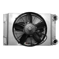 "C&R Racing - C&R Racing Drag Radiator Module - Scirocco Style - Closed - 22"" x 13"" - SPAL 12"" Fan & Shroud -20AN Inlet/Outlet"