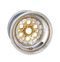 "Weld Wheels - Weld Racing Magnum Sprint 6 Pin Gold Anodized / Polished Wheels - Weld Racing - Weld Magnum Sprint Wheel - 6-Pin -15"" x 12"" - 7"" Back Spacing - Aluminum - Polished - Gold Center"