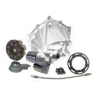 "Bellhousing and Clutch Kits - Aluminum Bellhousing Kits - Quarter Master - Quarter Master Chevy V-Drive 5.5"" Rear Mount Starter Bellhousing System - 3 Disc - 1-5/32"" x 26 Spline - Fits Early Chevy (Pre-86) Applications."