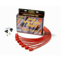 """Ignition System, Magnetos - Spark Plug Wire Sets - Taylor Cable Products - Taylor 8mm Pro """"Race Fit"""" Wire Spark Plug Wire Set - Red - SB Chevy 262-400 - Spiro-Pro Conductor - 90 Plug Boots, HEI Style Distributor Cap - For Under Valve Cover Applications"""