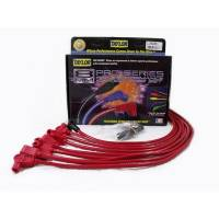"""Spark Plug Wires - Taylor 8mm Spiro-Pro Spark Plug Wire Sets - Taylor Cable Products - Taylor 8mm Pro """"Race Fit"""" Wire Spark Plug Wire Set - Red - SB Chevy 262-400 - TCW Wire Conductor - 90° Plug Boots, HEI Style Distributor Cap - For Over Valve Cover Applications"""