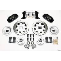 Front Brake Kits - Street / Truck - Wilwood Dynapro 6 Big Brake Front Brake Kits (Hub) - Wilwood Engineering - Wilwood Dynapro 6 Big Brake Front Brake Kit (Hub) - BlackCaliper - SRP Drilled & Slotted Rotor
