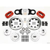 """Front Brake Kits - Drag - Wilwood Forged Dynalite Big Brake Front Hub Kits - Wilwood Engineering - Wilwood Forged Dynalite Big Brake Front Brake Kit (Hub) - Red - 12.19"""" Drilled / Slotted Rotor - 1965-69 Mustang"""