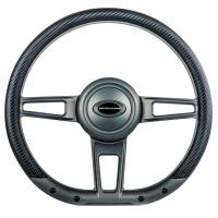 "Steering Components - NEW - Steering Wheels and Components - NEW - Billet Specialties - Billet Specialties Steering Wheel 14"" D-Shape Formula Gunmetal Mat"