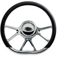 "Steering Components - NEW - Steering Wheels and Components - NEW - Billet Specialties - Billet Specialties Steering Wheel 14"" D-Shape Prism Polished"