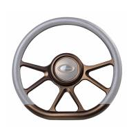 "Steering Components - NEW - Steering Wheels and Components - NEW - Billet Specialties - Billet Specialties Steering Wheel 14"" D-Shape Prism Bronze Matte"