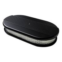 Air & Fuel System - Billet Specialties - Billet Specialties Air Cleaner Large Oval Ribbed Black