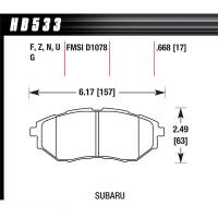 Brake System - Hawk Performance - Hawk Brake Pads Front Subaru HPS