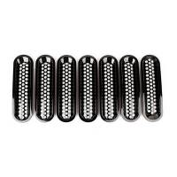 Body & Exterior - Rugged Ridge - Rugged Ridge Grille Inserts Perforate d Black 07-18 Jeep Wrangler
