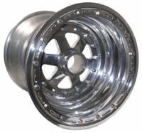 "Rear Wheels - Keizer Sprint Car Splined Wheels - Keizer Aluminum Wheels - Keizer Sprint 42 Spline Inner Beadlock Wheel - 15 x 15"" - 6"" Back Spacing - Polished"