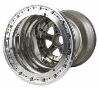 "Rear Wheels - Keizer Sprint Car Splined Wheels - Keizer Aluminum Wheels - Keizer Sprint 42 Spline Outer Beadlock Wheel - 15 x 18"" - 7"" Back Spacing - Polished"