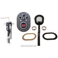 Fuel Pump Components and Rebuild Kits - Fuel Pump Mounting Brackets - RCI - RCI Fuel Pump Mount - 16 Bolt Oval - 8 AN Fittings - Aluminum - Black Anodized