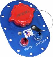 "Air & Fuel System - ATL Racing Fuel Cells - ATL 4"" x 6"" Fill Plate - 2-1/4 O.D. Neck Flap-Valve - #6 Outlet- Aluminum"