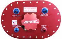 """Fuel Cells, Tanks and Components - Fuel Cell Filler Plates - ATL Racing Fuel Cells - ATL 6"""" x 10"""" Fill-Plate w/ Flapper Valve - Aluminum - (2) #8 Outlets - Billet Aluminum Cap"""
