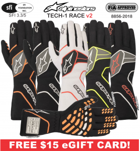 Racing Gloves - Shop All Auto Racing Gloves - Alpinestars Tech-1 Race v2 Gloves - $129.95 - NEW!