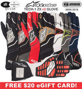 Racing Gloves - Shop All Auto Racing Gloves - Alpinestars Tech 1-ZX v2 Gloves - $199.95 - NEW!