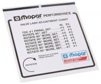 Body & Exterior - Mopar Performance - MOPAR Performance Valve Lash Adjustment Chart Information Sticker