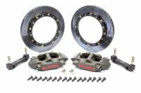 "Brake Systems - Front Brake Kits - Circle Track - Brembo - Brembo Front Brake System - 4 Piston Caliper - 11.00"" Slotted Rotors - Aluminum - Gray Anodize - Dirt Late Model"