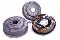"Rear Brake Kits - Drag - Strange Pro Series Rear Disc Brake Kits - Strange Engineering - Strange Rear Brake System - 11.000"" Plain Drum - Backing Plate/Hardware/Shoes Included - Iron - Natural - 5 x 4.50"" Bolt Pattern - Big Ford"