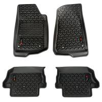 Interior & Cockpit - Rugged Ridge - Rugged Ridge All Terrain Floor Liner - Front/2nd Row - Plastic - Black - Jeep Wrangler JL 2018-19