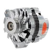 Ignition & Electrical System - Powermaster Motorsports - Powermaster Alternator - CS130 - 140 amp - 12V - 1-Wire - 6 Rib Serpentine Pulley - Chrome - GM