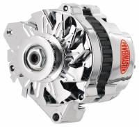 Powermaster Motorsports - Powermaster Alternator - CS130 - 105 amp - 12V - 1-Wire - Single V-Belt Pulley - Chrome - GM