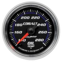 "Analog Gauges - Oil Temperature Gauges - Auto Meter - Auto Meter Cobalt Oil Temperature Gauge - 140-280° F - Electric - Analog - Full Sweep - 2-1/16"" Diameter - Black Face"