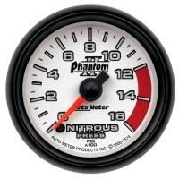 "Analog Gauges - Nitrous Pressure Gauges - Auto Meter - Auto Meter Phantom II Nitrous Pressure Gauge - 0-1600 psi - Electric - Analog - Full Sweep - 2-1/16"" Diameter - White Face"