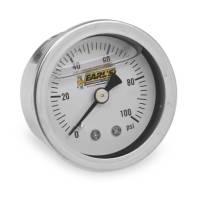 "Gauges and Data Acquisition - Earl's Performance Plumbing - Earl's Liquid Filled Pressure Gauge - 0-100 psi - 1-1/2"" Diameter - 1/8"" NPT Port - White Face"