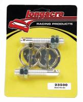 "Hardware and Fasteners - Longacre Racing Products - Longacre Hood Pin - 1/2"" OD x 4"" Long - 3-1/2"" OD Scuff Plates - Torsion Clips - - Steel - Chrome"