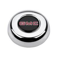 Steering Components - Grant Products - Grant Horn Button - GMC Logo - Plastic - Black/Chrome - Grant Classic/Challenger Steering Wheels