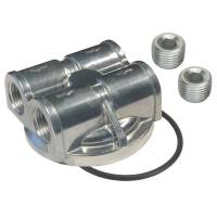 """Oil Filter Adapters and Components - Oil Filter Bypass Adapters - Derale Performance - Derale Oil Filter Adapter - Bypass - Block Mount - 22 x 1.5 mm Center Thread - 1/2"""" NPT Inlets - 1/2"""" NPT Outlets - Aluminum - Polished"""