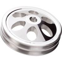 "Power Steering Pump Accessories - Pulleys & Drive Systems - Billet Specialties - Billet Specialties V-Belt Power Steering Pulley - 2 Groove - Keyed - 6.000"" Diameter - Billet Aluminum - Polished - Saginaw"