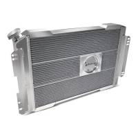 """Proform Performance Products - Proform Slim-Fit Direct Fit Series Aluminum Radiator - 28-7/64"""" W x 18-1/2"""" H x 4"""" D - Single Pass - Left Side Inlet - Right Side Outlet - Natural - Automatic Transmission - GM F-Body 1967-69"""