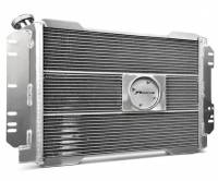 """Proform Performance Products - Proform Slim-Fit Direct Fit Series Aluminum Radiator - 26-1/2"""" W x 18-1/2"""" H x 4"""" D - Single Pass - Left Side Inlet - Right Side Outlet - Natural - Manual Transmission - Mopar A-Body/B-Body 1960-88"""
