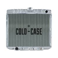 """Cooling & Heating - Cold-Case Radiators - Cold-Case Aluminum Radiator - 25.5"""" W x 21.5"""" H x 3"""" D - Passenger Side Inlet - Driver Side Outlet - Polished - Big Block Ford - Ford Fairlane 1966-67"""