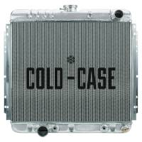 "Cold-Case Radiators - Cold-Case Aluminum Radiator - 21.06"" W x 20.5"" H x 3"" D - Passenger Side Inlet - Driver Side Outlet - Polished - Automatic - Big Block Ford - Ford Mustang 1967-70"