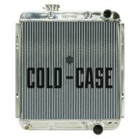 "Cold-Case Radiators - Cold-Case Aluminum Radiator - 19.6"" W x 21"" H x 3"" D - Passenger Side Inlet - Passenger Side Outlet - Polished - Manual - Small Block Ford - Ford Mustang 1964-66"