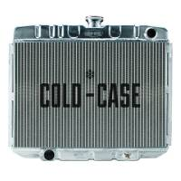 "Cold-Case Radiators - Cold-Case Aluminum Radiator - 25"" W x 21.25"" H x 3"" D - Passenger Side Inlet - Driver Side Outlet - Polished - Manual - Big Block Ford - Ford Mustang 1967-70"