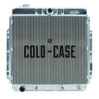 """Cooling & Heating - Cold-Case Radiators - Cold-Case Aluminum Radiator - 26.2"""" W x 25.5"""" H x 3"""" D - Center Inlet - Driver Side Outlet - Polished - Ford Inline-6 - Ford Fullsize Truck 1953-56"""