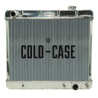 "Cold-Case Radiators - Cold-Case Aluminum Radiator - 24.5"" W x 22.5"" H x 3"" D - Driver Side Inlet - Passenger Side Outlet - Polished - Automatic - GM Fullsize Truck 1963-66"