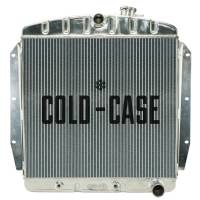"""Cooling & Heating - Cold-Case Radiators - Cold-Case Aluminum Radiator - 27"""" W x 25.7"""" H x 3"""" D - Center Inlet - Passenger Side Outlet - Polished - Chevy Truck 1955-59"""