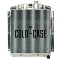 """Cooling & Heating - Cold-Case Radiators - Cold-Case Aluminum Radiator - 22.6"""" W x 27"""" H x 3"""" D - Center Inlet - Passenger Side Outlet - Polished - Chevy Truck 1947-54"""