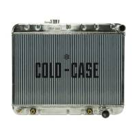 "Cold-Case Radiators - Cold-Case Aluminum Radiator - 25.75"" W x 20.125"" H x 3"" D - Passenger Side Inlet - Passenger Side Outlet - Without Air Conditioning - Polished - Automatic - GM A-Body 1964-65"